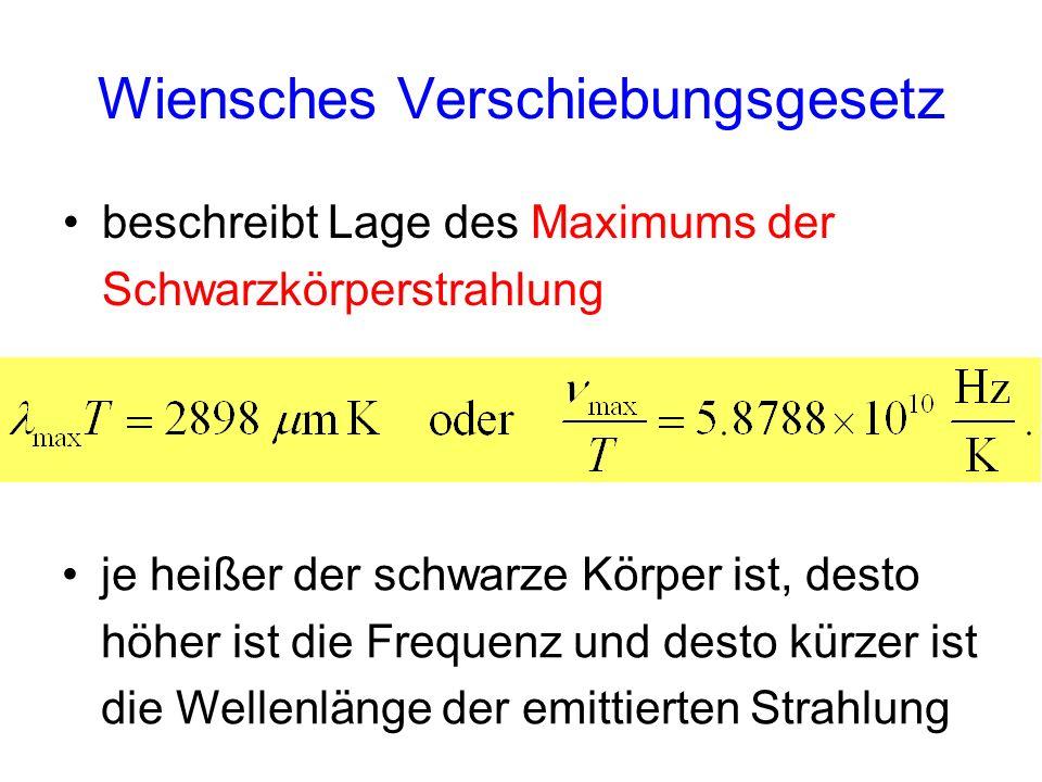 Wiensches Verschiebungsgesetz beschreibt Lage des Maximums der Schwarzkörperstrahlung je heißer der schwarze Körper ist, desto höher ist die Frequenz