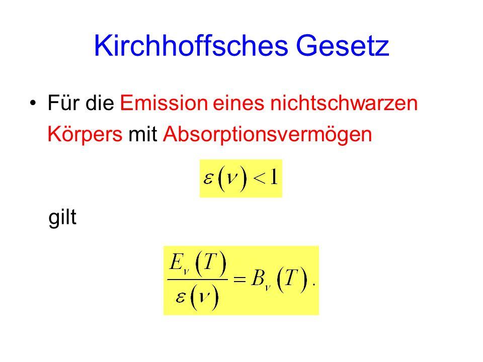 Kirchhoffsches Gesetz Für die Emission eines nichtschwarzen Körpers mit Absorptionsvermögen gilt