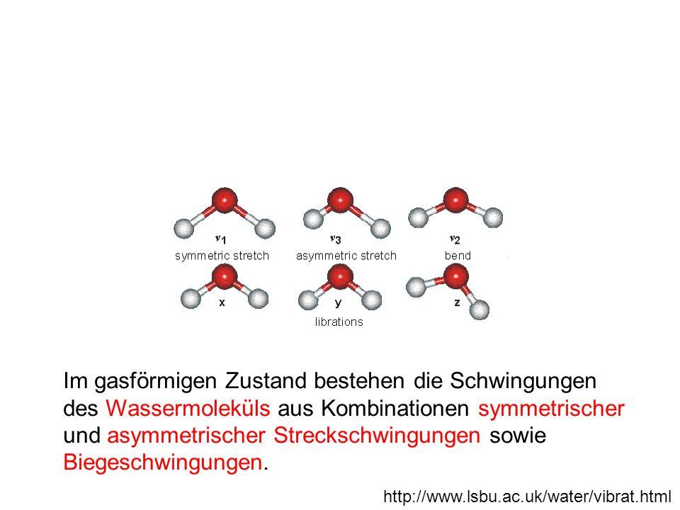 http://www.lsbu.ac.uk/water/vibrat.html Im gasförmigen Zustand bestehen die Schwingungen des Wassermoleküls aus Kombinationen symmetrischer und asymme