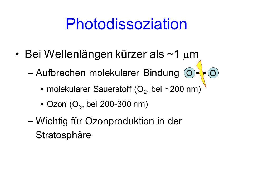 Photodissoziation Bei Wellenlängen kürzer als ~1 m –Aufbrechen molekularer Bindung molekularer Sauerstoff (O 2, bei ~200 nm) Ozon (O 3, bei 200-300 nm