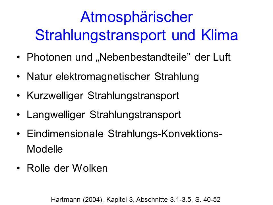 Atmosphärischer Strahlungstransport und Klima Photonen und Nebenbestandteile der Luft Natur elektromagnetischer Strahlung Kurzwelliger Strahlungstrans