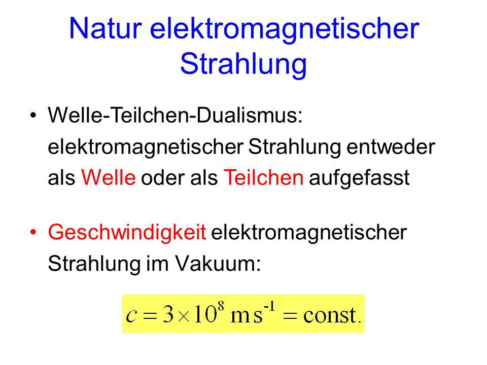 Natur elektromagnetischer Strahlung Welle-Teilchen-Dualismus: elektromagnetischer Strahlung entweder als Welle oder als Teilchen aufgefasst Geschwindi