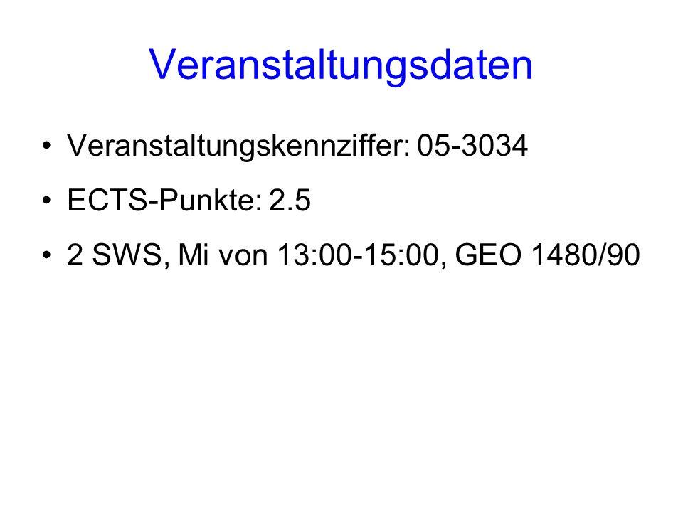 Veranstaltungsdaten Veranstaltungskennziffer: 05-3034 ECTS-Punkte: 2.5 2 SWS, Mi von 13:00-15:00, GEO 1480/90