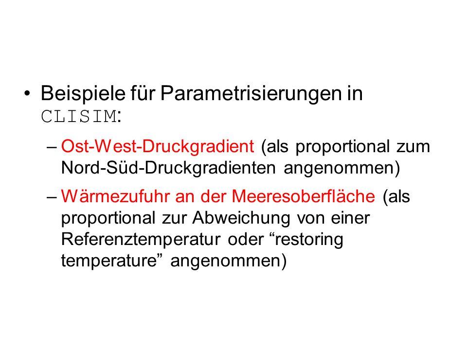 Beispiele für Parametrisierungen in CLISIM : –Ost-West-Druckgradient (als proportional zum Nord-Süd-Druckgradienten angenommen) –Wärmezufuhr an der Meeresoberfläche (als proportional zur Abweichung von einer Referenztemperatur oder restoring temperature angenommen)