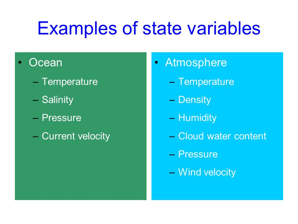 Examples of state variables Ocean –Temperature –Salinity –Pressure –Current velocity Atmosphere –Temperature –Density –Humidity –Cloud water content –Pressure –Wind velocity