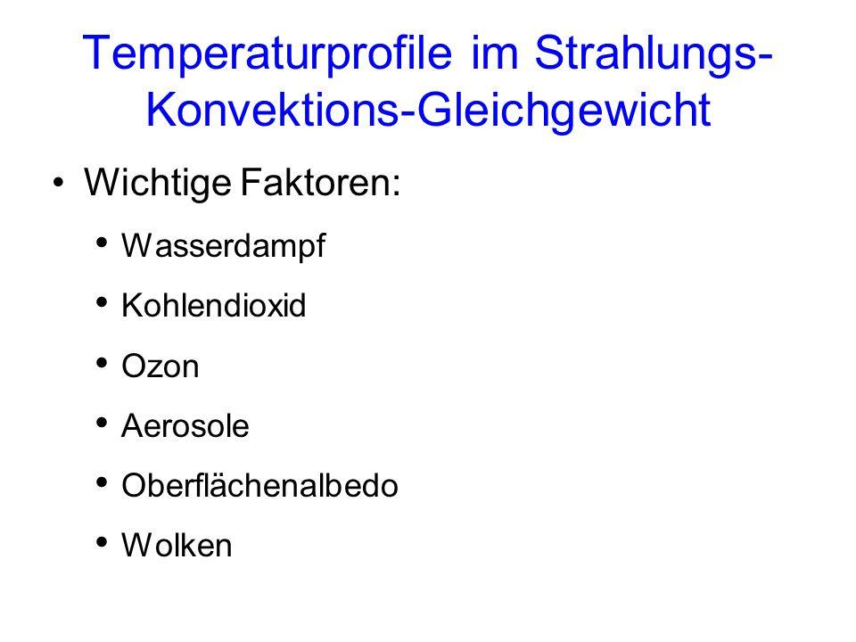 Berechnete Temperaturprofile für das Strahlungsgleichgewicht sowie für thermische Gleichgewichte mit vertikalen Temperaturgradienten von 9.8 und 6.5°C km -1 [Abbildung 3.16 aus Hartmann (1994)]