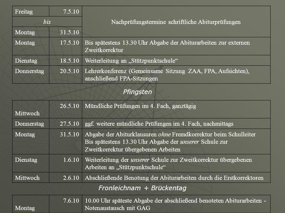 Freitag7.5.10 Nachprüfungstermine schriftliche Abiturprüfungen bis Montag31.5.10 Montag17.5.10Bis spätestens 13.30 Uhr Abgabe der Abiturarbeiten zur e