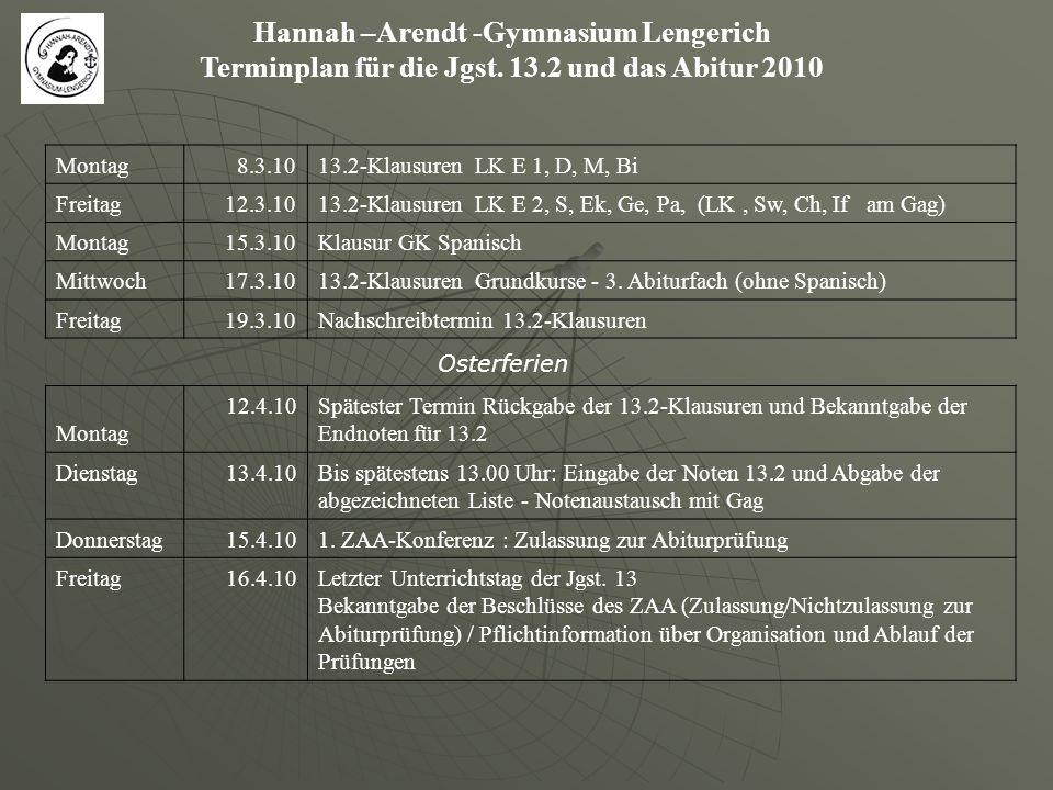 Hannah –Arendt -Gymnasium Lengerich Terminplan für die Jgst. 13.2 und das Abitur 2010 Montag8.3.1013.2-Klausuren LK E 1, D, M, Bi Freitag12.3.1013.2-K