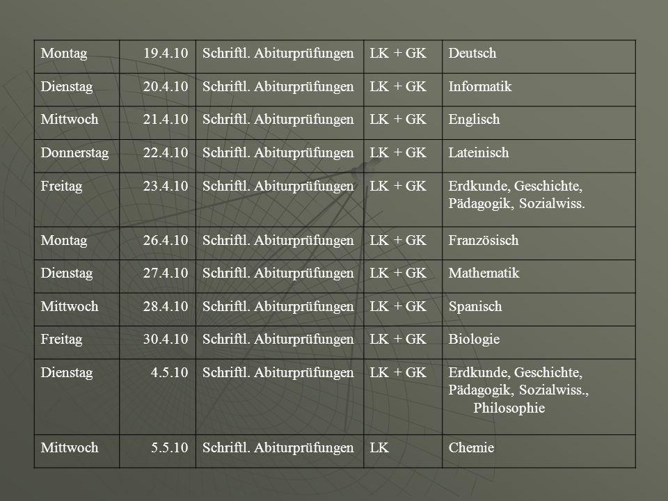 Montag19.4.10Schriftl. AbiturprüfungenLK + GKDeutsch Dienstag20.4.10Schriftl. AbiturprüfungenLK + GKInformatik Mittwoch21.4.10Schriftl. Abiturprüfunge
