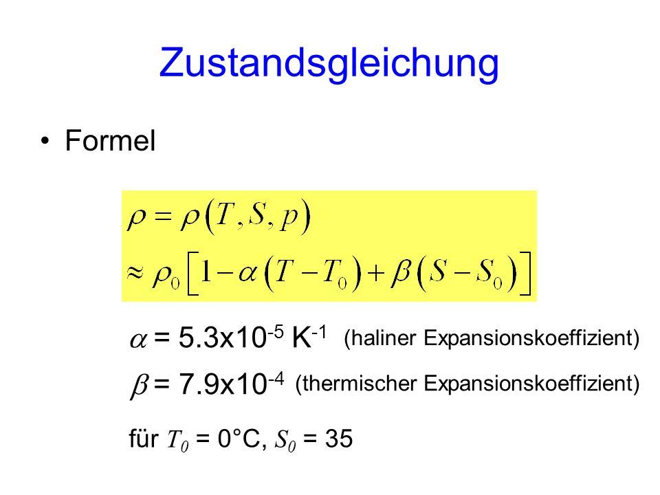 = 7.9x10 -4 Formel Zustandsgleichung (haliner Expansionskoeffizient) (thermischer Expansionskoeffizient) für T 0 = 0°C, S 0 = 35 = 5.3x10 -5 K -1