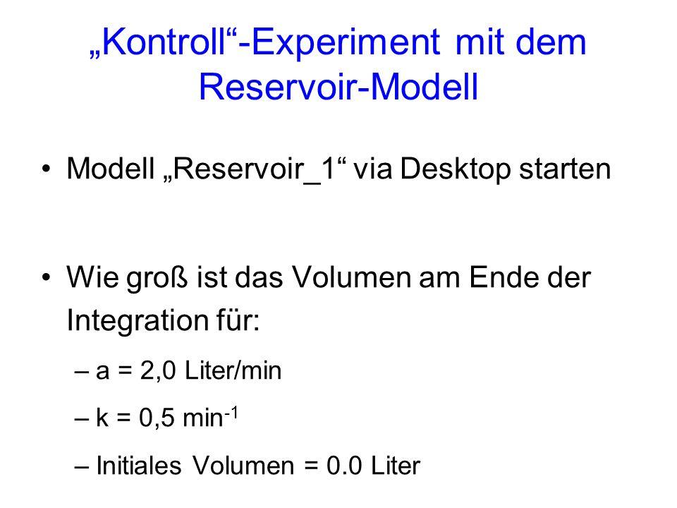 Kontroll-Experiment mit dem Reservoir-Modell Modell Reservoir_1 via Desktop starten Wie groß ist das Volumen am Ende der Integration für: –a = 2,0 Lit
