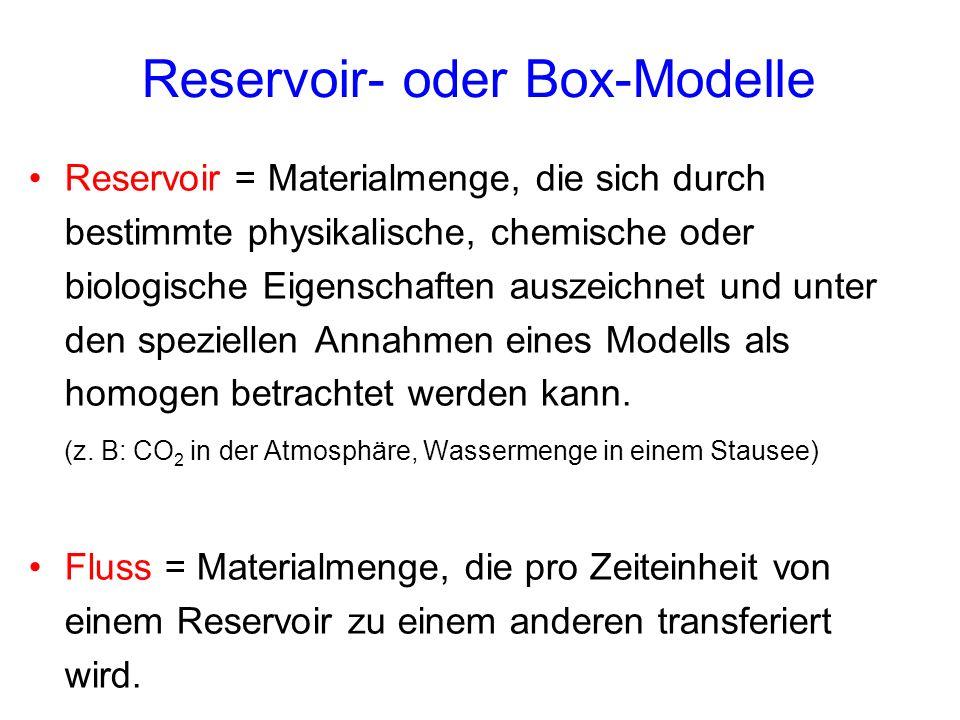 Reservoir- oder Box-Modelle Reservoir = Materialmenge, die sich durch bestimmte physikalische, chemische oder biologische Eigenschaften auszeichnet un