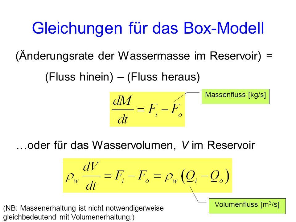 Gleichungen für das Box-Modell (Änderungsrate der Wassermasse im Reservoir) = (Fluss hinein) – (Fluss heraus) …oder für das Wasservolumen, V im Reserv