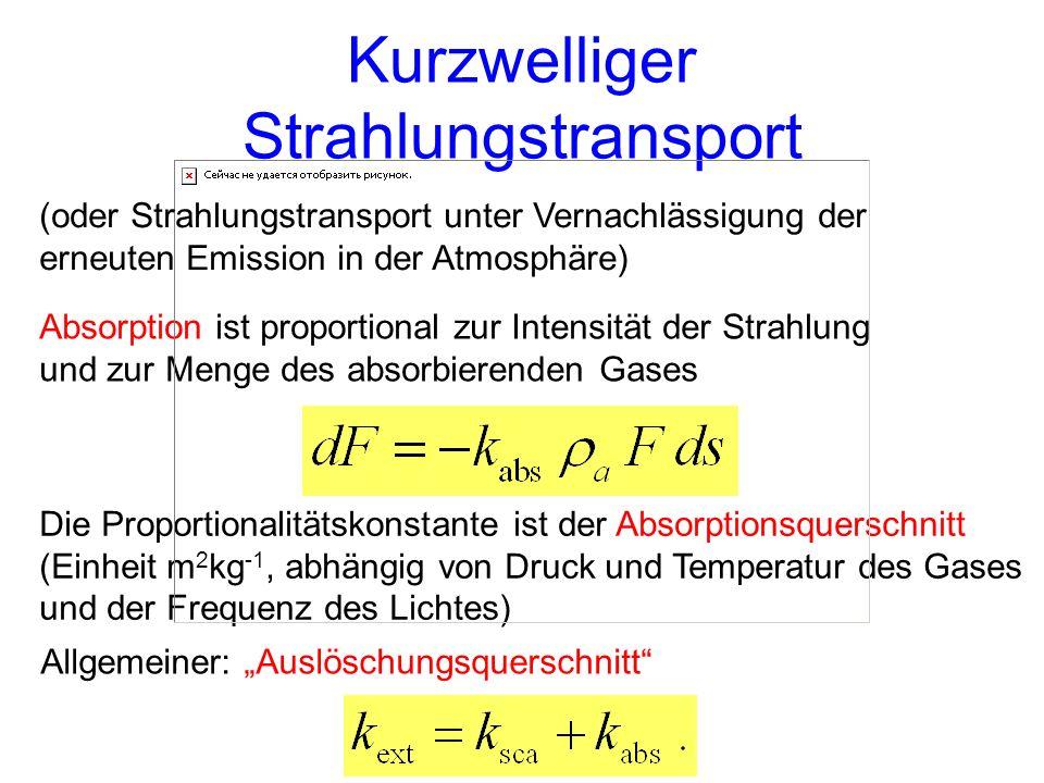 Die Proportionalitätskonstante ist der Absorptionsquerschnitt (Einheit m 2 kg -1, abhängig von Druck und Temperatur des Gases und der Frequenz des Lic