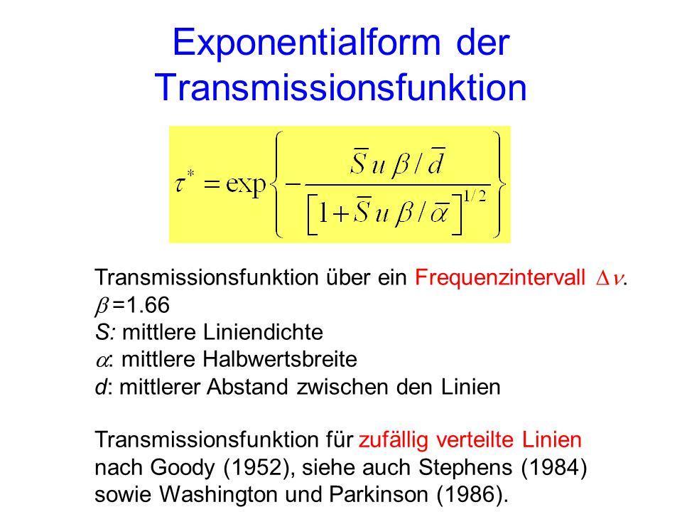 Exponentialform der Transmissionsfunktion Transmissionsfunktion über ein Frequenzintervall. =1.66 S: mittlere Liniendichte : mittlere Halbwertsbreite