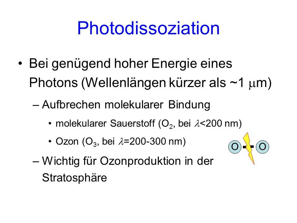 Photoionisation Bei sehr hoher Energie eines Photons (Wellenlängen unter ungefähr 100 nm) –Herausschlagen eines Elektrons aus der äußeren Hülle eines Atoms –Wichtig in Ionosphäre + -