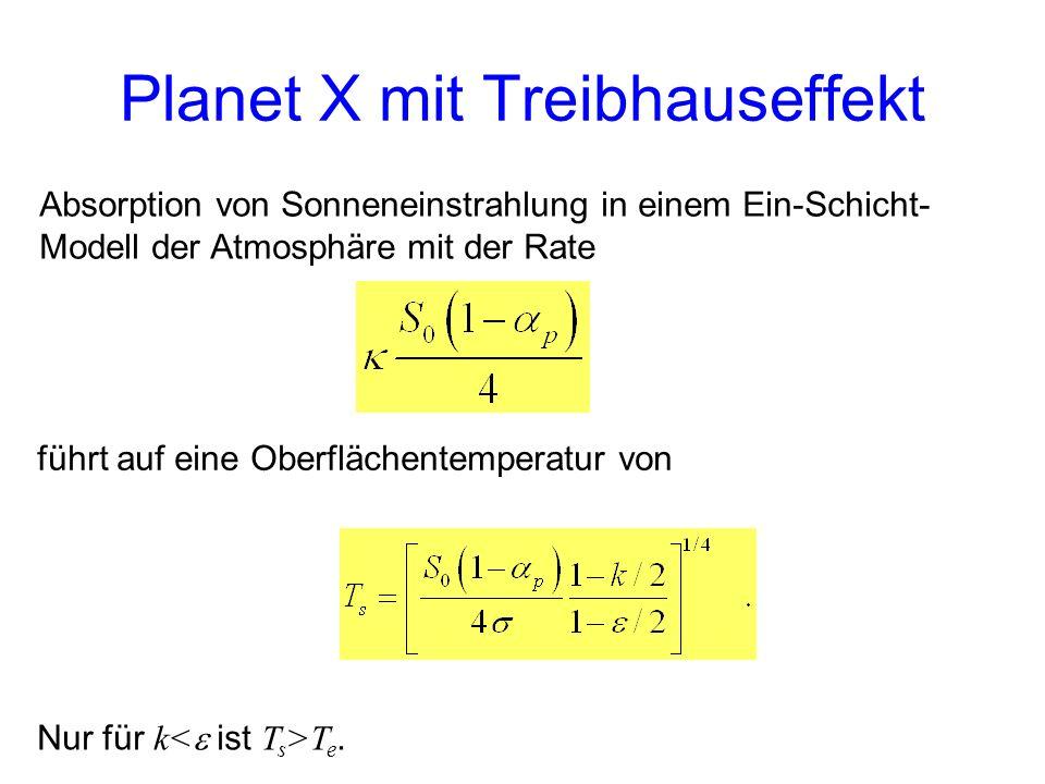 Absorption von Sonneneinstrahlung in einem Ein-Schicht- Modell der Atmosphäre mit der Rate führt auf eine Oberflächentemperatur von Nur für k T e. Pla