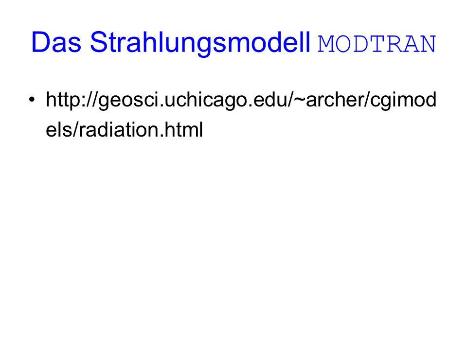 Das Strahlungsmodell MODTRAN http://geosci.uchicago.edu/~archer/cgimod els/radiation.html