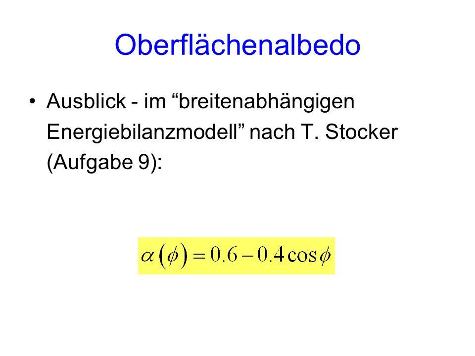 Oberflächenalbedo Ausblick - im breitenabhängigen Energiebilanzmodell nach T. Stocker (Aufgabe 9):