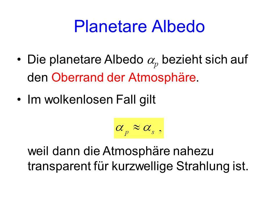 Planetare Albedo Die planetare Albedo p bezieht sich auf den Oberrand der Atmosphäre. Im wolkenlosen Fall gilt weil dann die Atmosphäre nahezu transpa