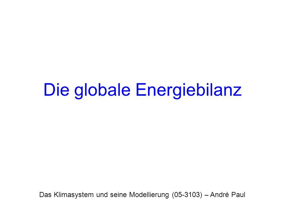 Das Klimasystem und seine Modellierung (05-3103) – André Paul Die globale Energiebilanz