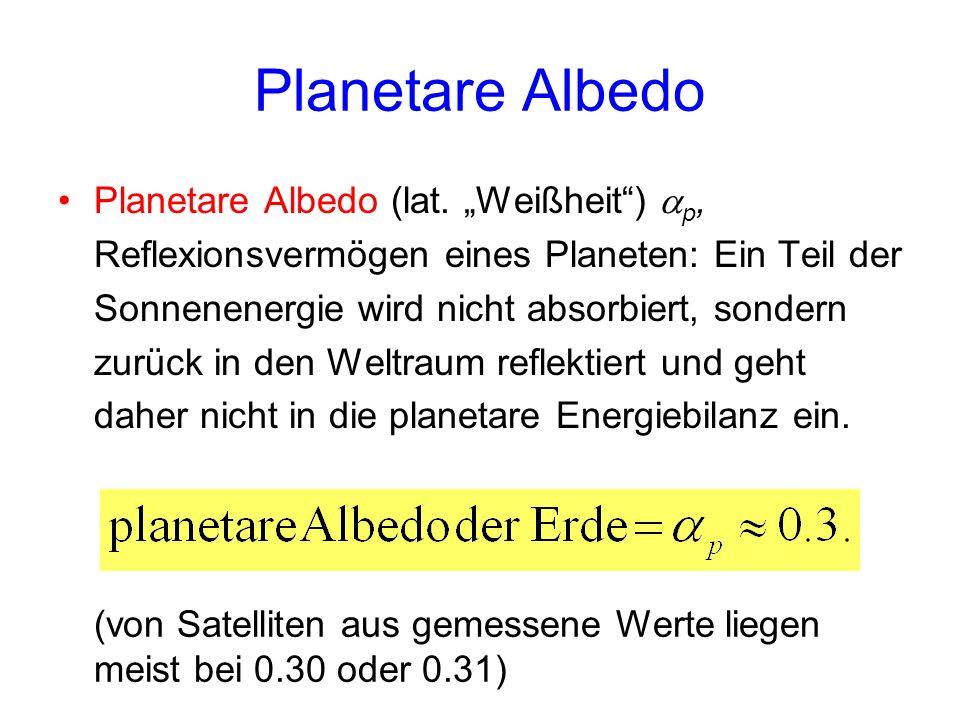 Planetare Albedo Planetare Albedo (lat. Weißheit) p, Reflexionsvermögen eines Planeten: Ein Teil der Sonnenenergie wird nicht absorbiert, sondern zurü