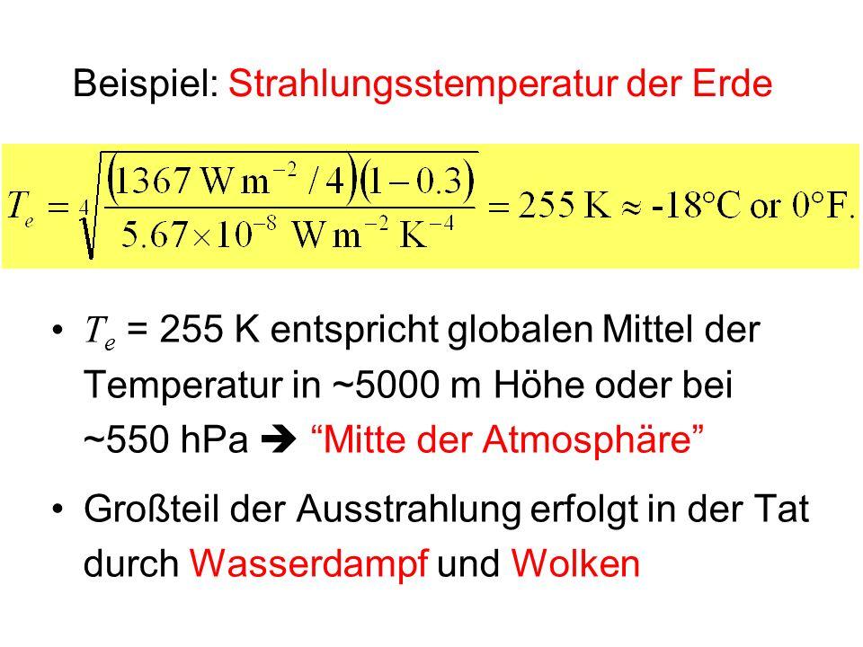 Beispiel: Strahlungsstemperatur der Erde T e = 255 K entspricht globalen Mittel der Temperatur in ~5000 m Höhe oder bei ~550 hPa Mitte der Atmosphäre