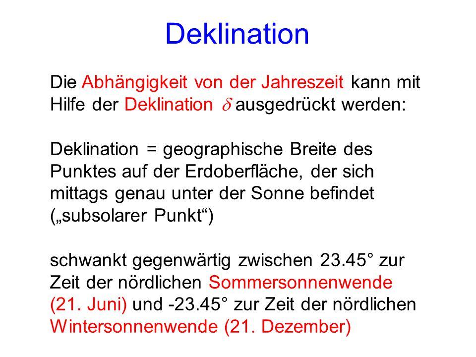 Deklination Die Abhängigkeit von der Jahreszeit kann mit Hilfe der Deklination ausgedrückt werden: Deklination = geographische Breite des Punktes auf