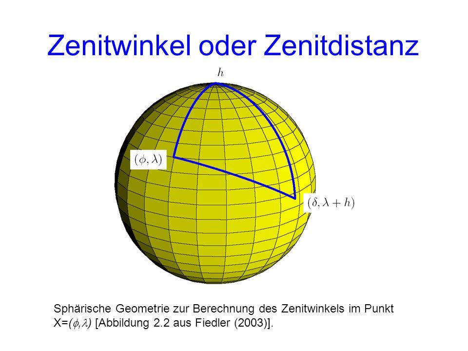 Zenitwinkel oder Zenitdistanz Sphärische Geometrie zur Berechnung des Zenitwinkels im Punkt X=(, ) [Abbildung 2.2 aus Fiedler (2003)].
