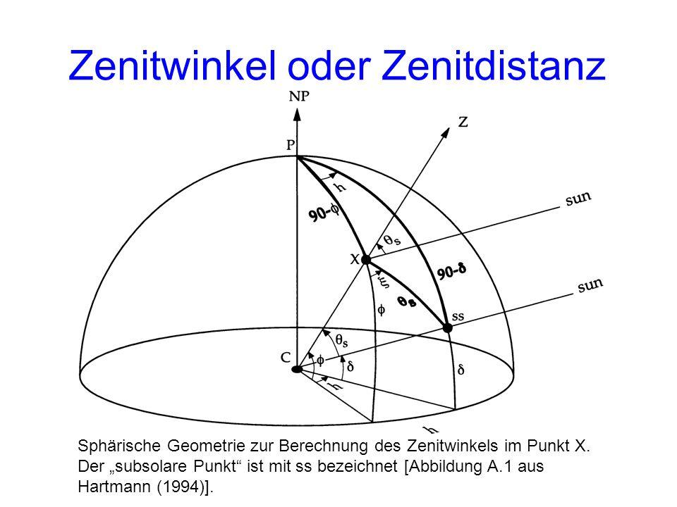 Zenitwinkel oder Zenitdistanz Sphärische Geometrie zur Berechnung des Zenitwinkels im Punkt X. Der subsolare Punkt ist mit ss bezeichnet [Abbildung A.