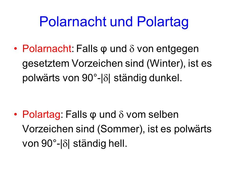 Polarnacht und Polartag Polarnacht: Falls φ und von entgegen gesetztem Vorzeichen sind (Winter), ist es polwärts von 90°-| | ständig dunkel. Polartag: