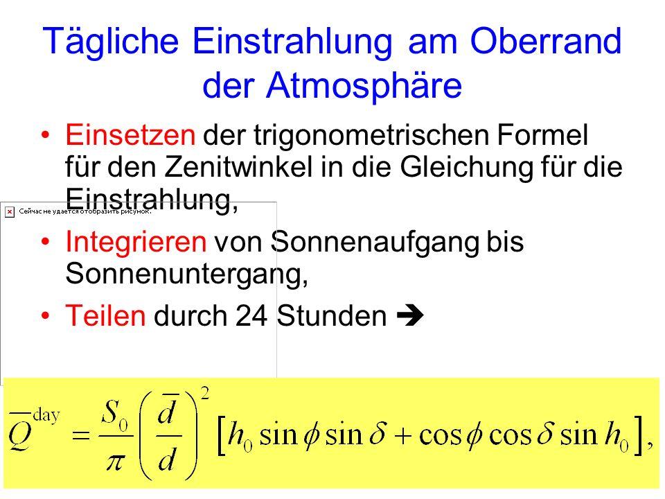 Tägliche Einstrahlung am Oberrand der Atmosphäre Einsetzen der trigonometrischen Formel für den Zenitwinkel in die Gleichung für die Einstrahlung, Int