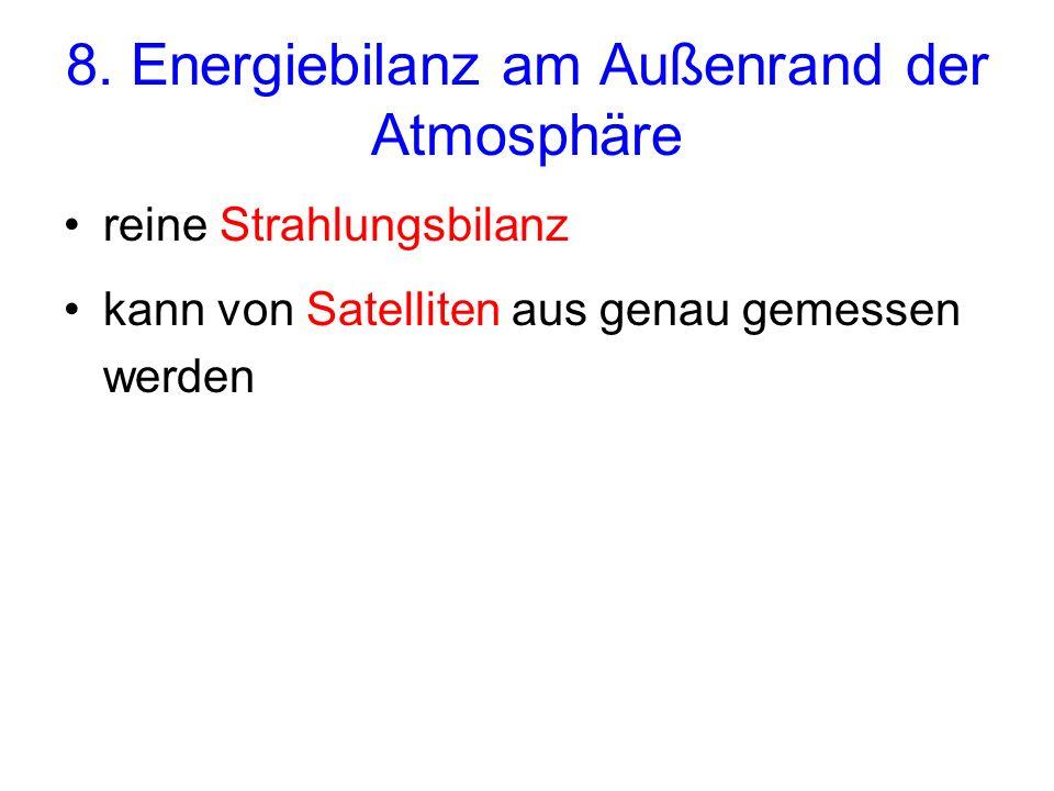 8. Energiebilanz am Außenrand der Atmosphäre reine Strahlungsbilanz kann von Satelliten aus genau gemessen werden