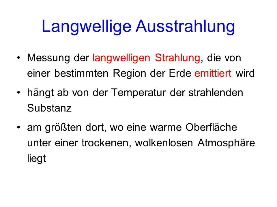 Langwellige Ausstrahlung Messung der langwelligen Strahlung, die von einer bestimmten Region der Erde emittiert wird hängt ab von der Temperatur der s