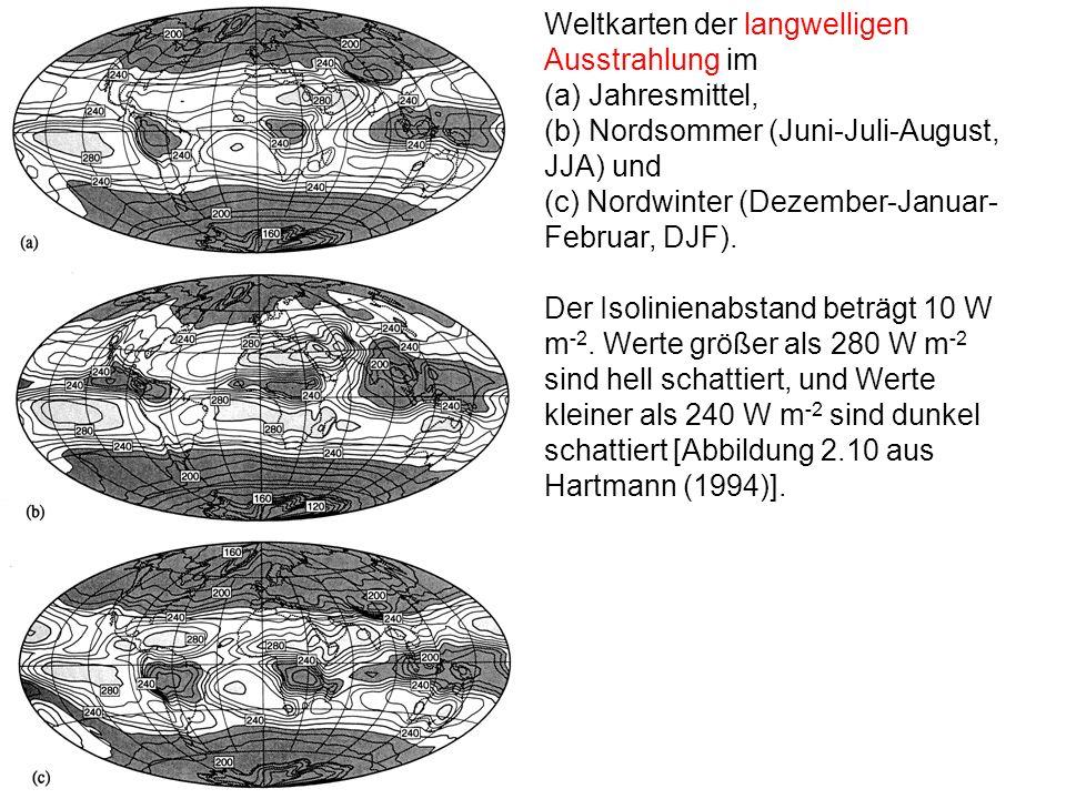 Weltkarten der langwelligen Ausstrahlung im (a) Jahresmittel, (b) Nordsommer (Juni-Juli-August, JJA) und (c) Nordwinter (Dezember-Januar- Februar, DJF
