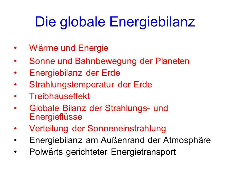 Die globale Energiebilanz Wärme und Energie Sonne und Bahnbewegung der Planeten Energiebilanz der Erde Strahlungstemperatur der Erde Treibhauseffekt G