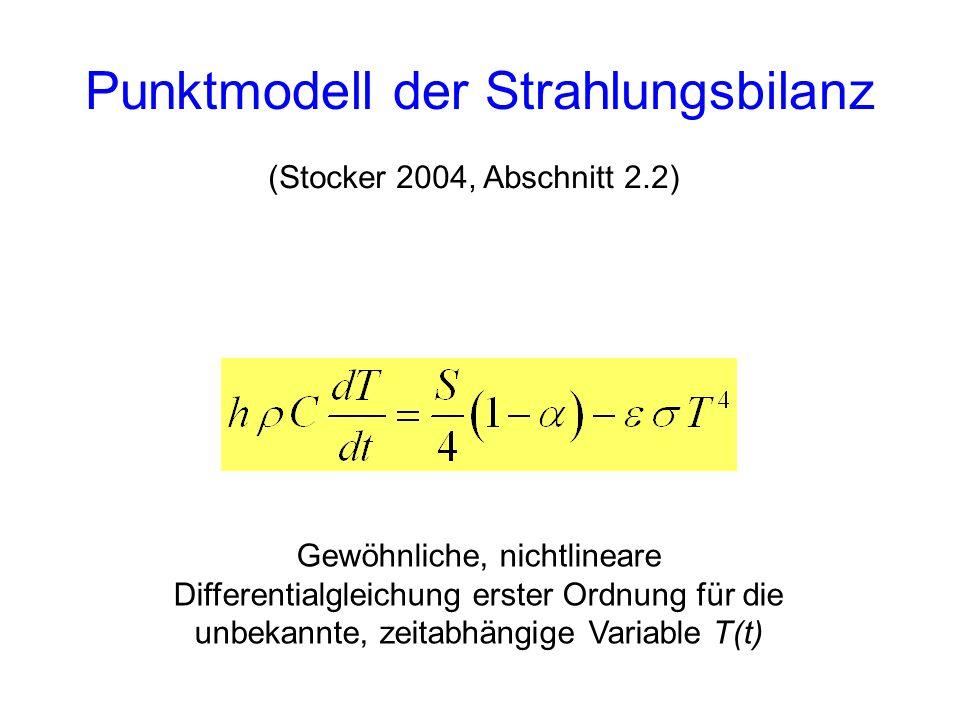 Punktmodell der Strahlungsbilanz (Stocker 2004, Abschnitt 2.2) Gewöhnliche, nichtlineare Differentialgleichung erster Ordnung für die unbekannte, zeit