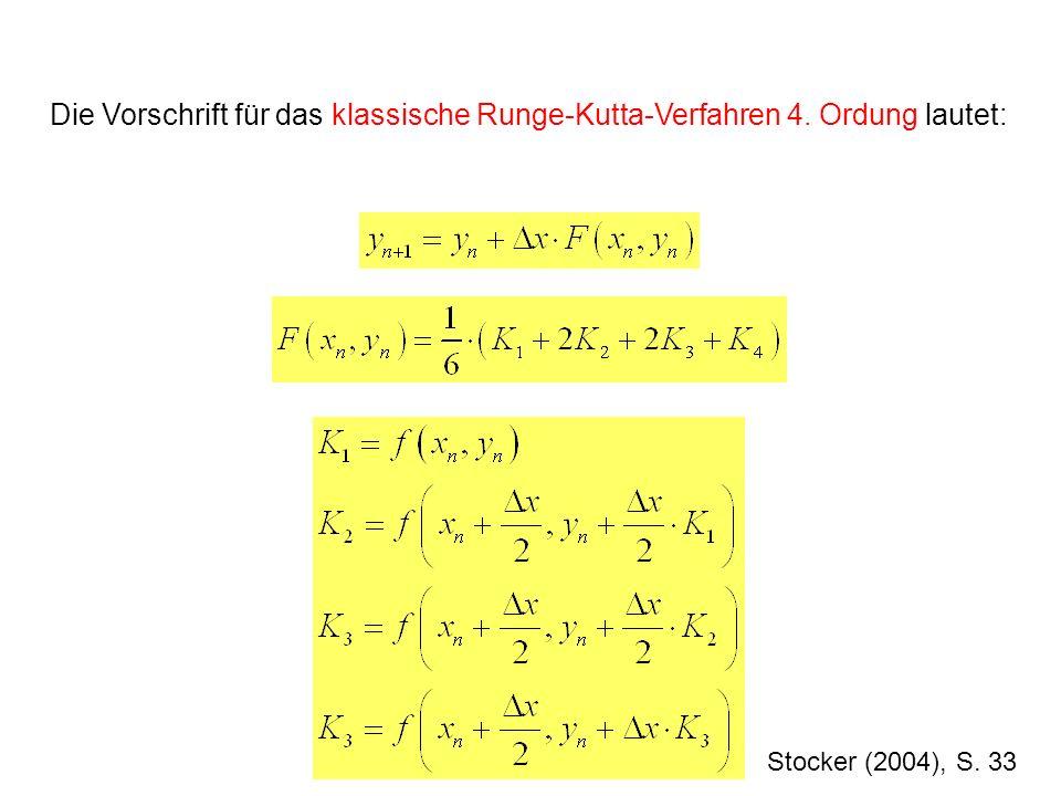 Stocker (2004), S. 33 Die Vorschrift für das klassische Runge-Kutta-Verfahren 4. Ordung lautet: