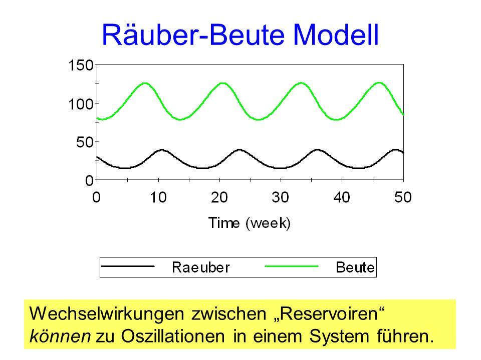 Räuber-Beute Modell Wechselwirkungen zwischen Reservoiren können zu Oszillationen in einem System führen.