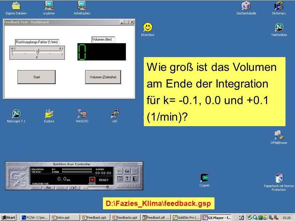 Wie groß ist das Volumen am Ende der Integration für k= -0.1, 0.0 und +0.1 (1/min)? D:\Fazies_Klima\feedback.gsp