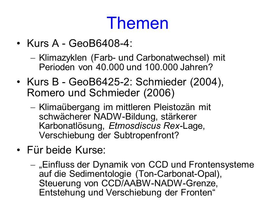 Themen Kurs A - GeoB6408-4: Klimazyklen (Farb- und Carbonatwechsel) mit Perioden von 40.000 und 100.000 Jahren? Kurs B - GeoB6425-2: Schmieder (2004),