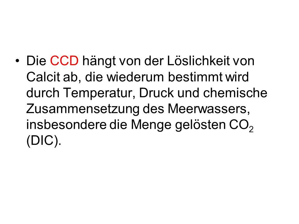 Die CCD hängt von der Löslichkeit von Calcit ab, die wiederum bestimmt wird durch Temperatur, Druck und chemische Zusammensetzung des Meerwassers, ins