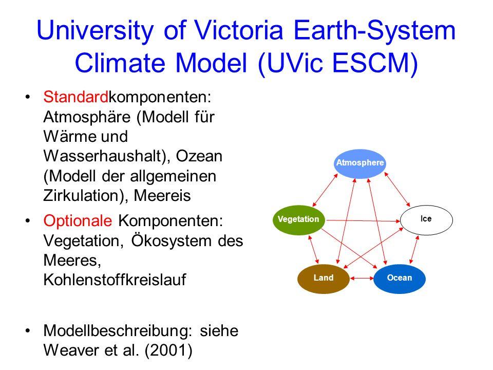 University of Victoria Earth-System Climate Model (UVic ESCM) Standardkomponenten: Atmosphäre (Modell für Wärme und Wasserhaushalt), Ozean (Modell der allgemeinen Zirkulation), Meereis Optionale Komponenten: Vegetation, Ökosystem des Meeres, Kohlenstoffkreislauf Modellbeschreibung: siehe Weaver et al.
