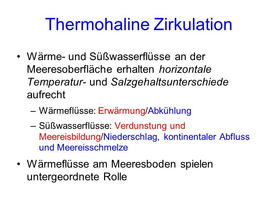 Thermohaline Zirkulation Wärme- und Süßwasserflüsse an der Meeresoberfläche erhalten horizontale Temperatur- und Salzgehaltsunterschiede aufrecht –Wärmeflüsse: Erwärmung/Abkühlung –Süßwasserflüsse: Verdunstung und Meereisbildung/Niederschlag, kontinentaler Abfluss und Meereisschmelze Wärmeflüsse am Meeresboden spielen untergeordnete Rolle