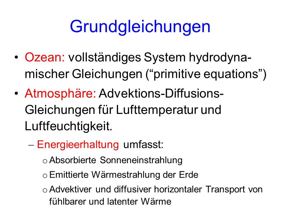 Grundgleichungen Ozean: vollständiges System hydrodyna- mischer Gleichungen (primitive equations) Atmosphäre: Advektions-Diffusions- Gleichungen für Lufttemperatur und Luftfeuchtigkeit.
