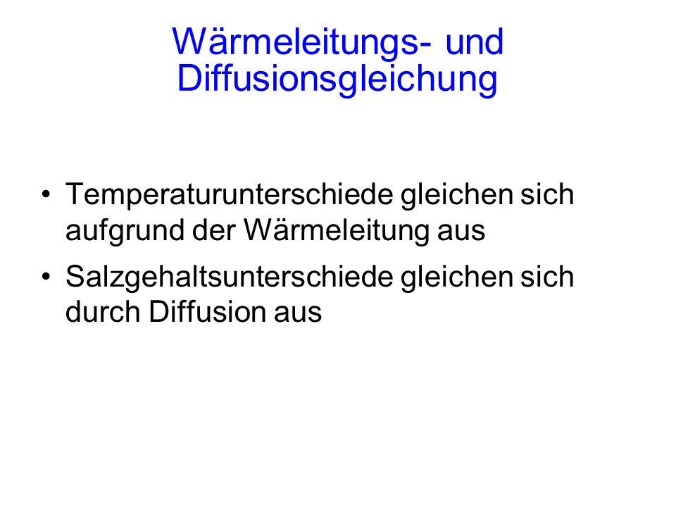 Wärmeleitungs- und Diffusionsgleichung Temperaturunterschiede gleichen sich aufgrund der Wärmeleitung aus Salzgehaltsunterschiede gleichen sich durch Diffusion aus