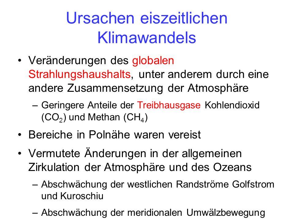 Ursachen eiszeitlichen Klimawandels Veränderungen des globalen Strahlungshaushalts, unter anderem durch eine andere Zusammensetzung der Atmosphäre –Geringere Anteile der Treibhausgase Kohlendioxid (CO 2 ) und Methan (CH 4 ) Bereiche in Polnähe waren vereist Vermutete Änderungen in der allgemeinen Zirkulation der Atmosphäre und des Ozeans –Abschwächung der westlichen Randströme Golfstrom und Kuroschiu –Abschwächung der meridionalen Umwälzbewegung