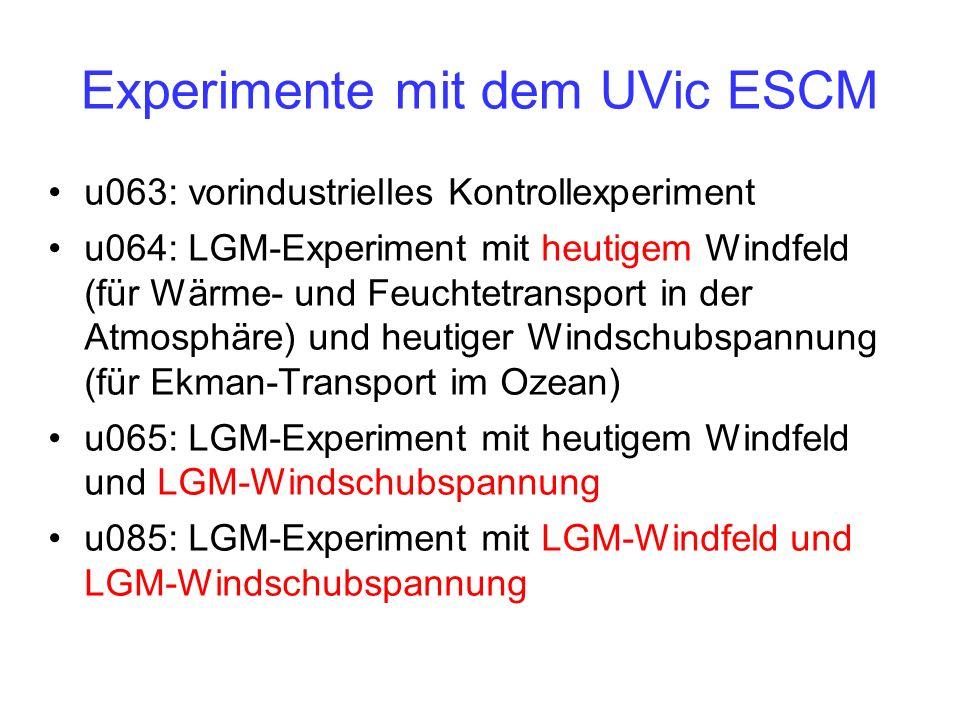 Experimente mit dem UVic ESCM u063: vorindustrielles Kontrollexperiment u064: LGM-Experiment mit heutigem Windfeld (für Wärme- und Feuchtetransport in der Atmosphäre) und heutiger Windschubspannung (für Ekman-Transport im Ozean) u065: LGM-Experiment mit heutigem Windfeld und LGM-Windschubspannung u085: LGM-Experiment mit LGM-Windfeld und LGM-Windschubspannung