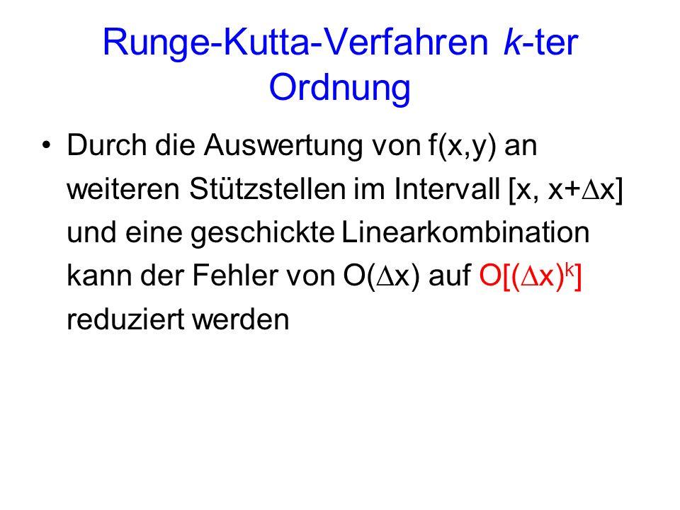 Runge-Kutta-Verfahren k-ter Ordnung Durch die Auswertung von f(x,y) an weiteren Stützstellen im Intervall [x, x+ x] und eine geschickte Linearkombination kann der Fehler von O( x) auf O[( x) k ] reduziert werden