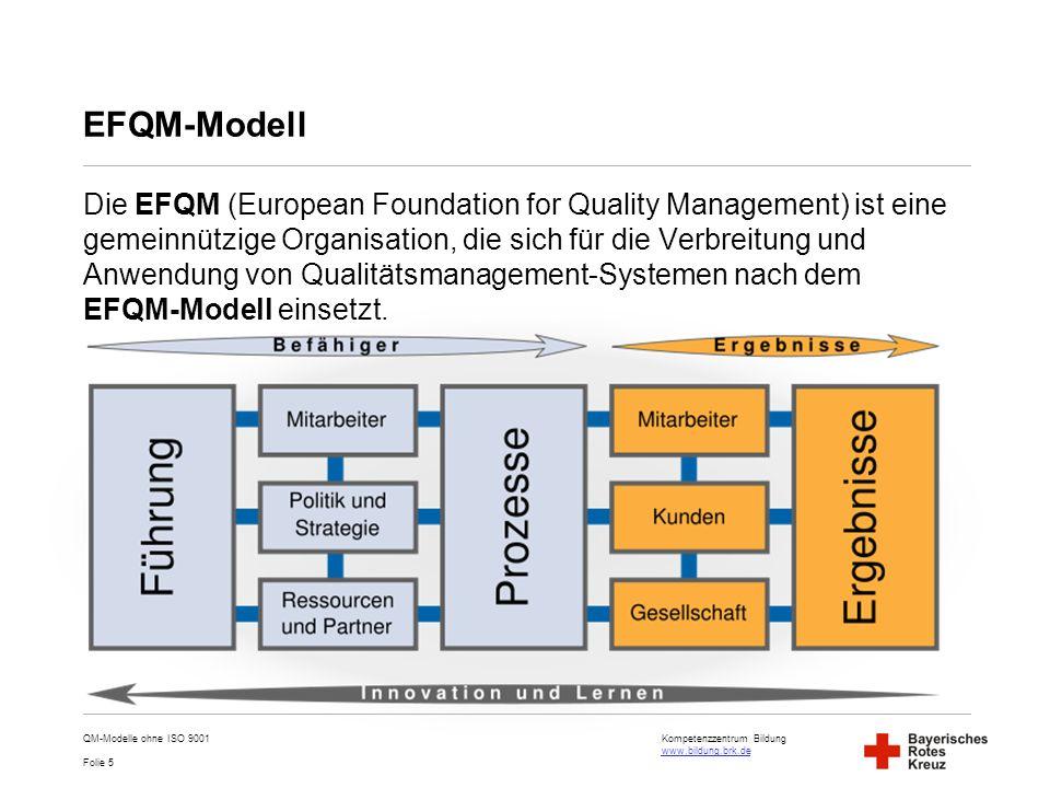 Kompetenzzentrum Bildung www.bildung.brk.de www.bildung.brk.de Folie 6 EFQM-Selbstbewertung Ein wichtiges Element des Modells ist die Selbstbewertung des Unternehmens.